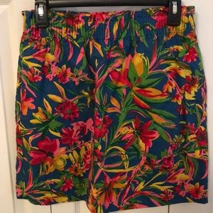J crew multi-colored linen floral skirt